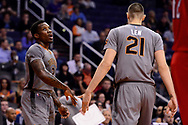 Feb 13, 2017; Phoenix, AZ, USA; Phoenix Suns guard Eric Bledsoe (2) high fives center Alex Len (21) in the first half of the NBA game against the New Orleans Pelicans at Talking Stick Resort Arena. Mandatory Credit: Jennifer Stewart-USA TODAY Sports