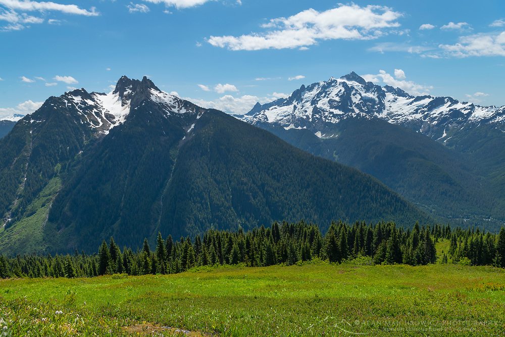 Mount Sefrit and Mount Shuksan seen from Goat Mountain. Mount Baker Wilderness, North Cascades Washington