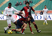 Bari (BA), 13-02-2011 ITALY - Italian Soccer Championship Day 25 - Bari VS Genoa..Pictured: Okaka (BA) Kaladze (GE) Milanetto (GE).Photo by Giovanni Marino/OTNPhotos . Obligatory Credit