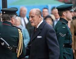 LONDON - UK - 2nd June 2016: Britain's HRH The Duke of Edinburgh takes the salute at the Rifles' Sounding Retreat  on Horse Guards Parade, London.<br /> Prince Philip is Colonel-in-Chief of The Rifles,<br /> <br /> Photograph by Ian Jones