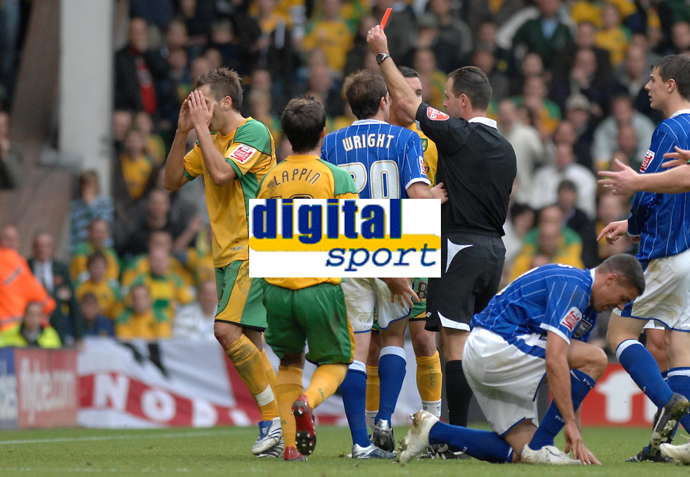 Photo: Ashley Pickering/Sportsbeat Images.<br /> Norwich City v Ipswich Town. Coca Cola Championship. 04/11/2007.<br /> Darren Huckbery of Norwich (L) is sent off late in the game for a challenge on Jonathan Walters of Ipswich
