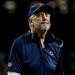 Oct 29, 2017; New Orleans, LA, USA; Chicago Bears head coach John Fox reacts after tight end Zach Miller (not pictured) is injured on a play in the endzone during the second half of a game against the New Orleans Saints at the Mercedes-Benz Superdome. The Saints defeated the Bears 20-12. Mandatory Credit: Derick E. Hingle-USA TODAY Sports