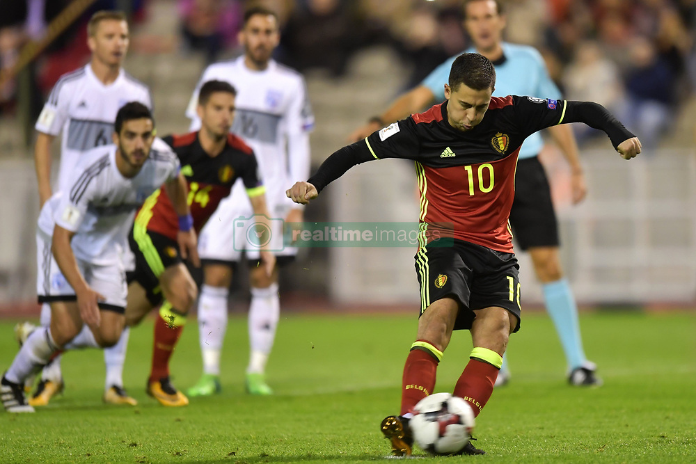 October 10, 2017 - Bruxelles, Belgique - Eden Hazard midfielder of Belgium scores from penalty (Credit Image: © Panoramic via ZUMA Press)
