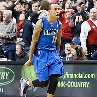 07 December 2013: Dallas Mavericks shooting guard Monta Ellis (11) celebrates his game winning shot at the buzzer with 1.9 second remaining during the Dallas Mavericks 108-106 victory over the Portland Trail Blazers at the Moda Center, Portland, Oregon, USA.