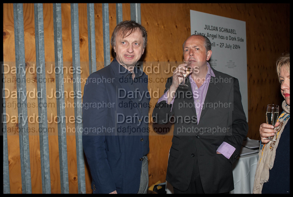 JAMES TRUMAN; ADRIAN DANNATT, Frank Cohen and Nicolai Frahm host Julian Schnabel's 'Every Angel has a Dark Side,' private view and party. IN AID OF CHICKENSHED. Dairy Art Centre, 7a Wakefield Street, London. 24 APRIL 2014
