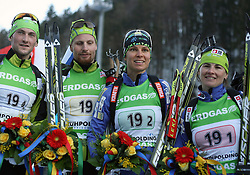 01/03/2012, Ruhpolding, Germany. Klemen BAUER, Jakov FAK, Teja GREGORIN, Andreja MALI (SLO) in action during the Biathlon World Championships- Mixed Relay. Team Slovenia was second, behind Norway. Team Germany is third..© Pierre Teyssot / Sportida.com