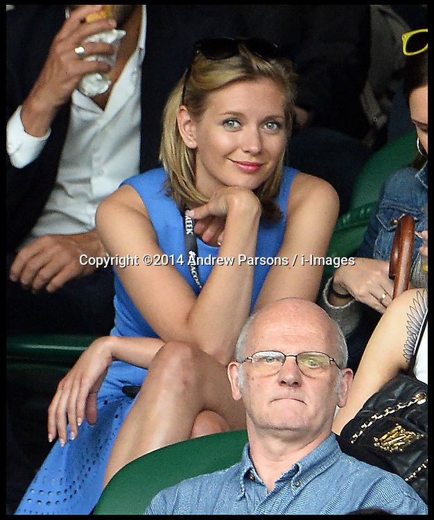 Image ©Licensed to i-Images Picture Agency. 28/06/2014, Wimbledon, London, United Kingdom. Rachel Riley watching Roger Federer v Santiago Giraldo on Centre court on Day 6 of the Wimbledon Tennis Championship. Picture by Andrew Parsons / i-Images