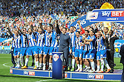 Wigan crowd champions after the Sky Bet League 1 match between Wigan Athletic and Barnsley at the DW Stadium, Wigan, England on 8 May 2016. Photo by John Marfleet.
