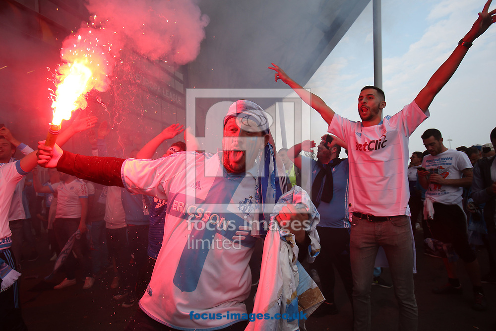 The Marseille fans before the UEFA Europa League Final match at Stade de Lyons, Lyons<br /> Picture by Paul Chesterton/Focus Images Ltd +44 7904 640267<br /> 16/05/2018
