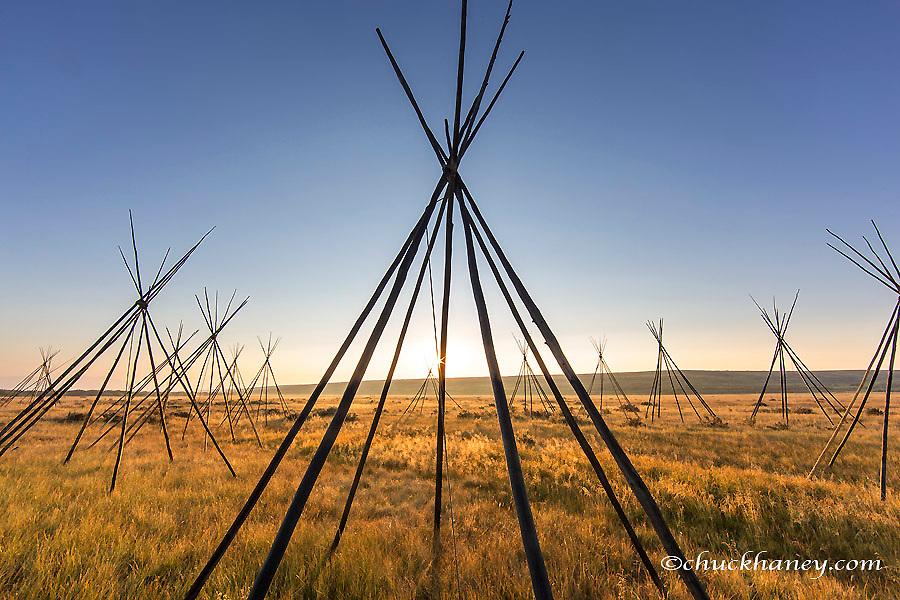 Site of Chief Joseph of the Nez Perce campsite at Big Hole National Battlefield, Montana, USA<br /> Site of the Nez Perce encampment at Big Hole National Battlefield, Montana, USA