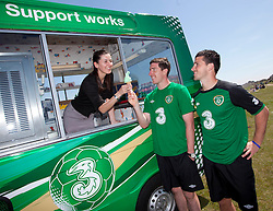 Three joins forces with Shane Long, Stephen Ward and Richard Dunne to celebrate the cream of supporters events, Three on the Quay ..Thursday 24th May 2012 - Three, Ireland's largest high speed network and proud supporters of the Irish football team, has teamed up with Republic of Ireland footballers; Stephen Ward and Shane Long pictured with Manuela Spinelli to celebrate Three on the Quay and call on the people of Ireland to show their support for the team at three free festival style events for supporters at George's Dock on the 10th, 14th and 18th June. .Pic Andres Poveda CPR.- ENDS -