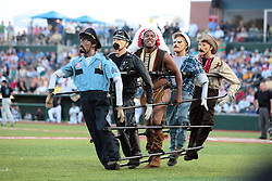 "1 June 2010: the Village People (Person) entertain. The Windy City Thunderbolts are the opponents for the first home game in the history of the Normal Cornbelters in the new stadium coined the ""Corn Crib"" built on the campus of Heartland Community College in Normal Illinois."