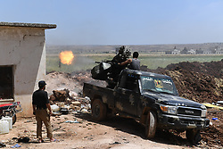 May 25, 2019 - Hama, Syria - Fighters from Syrian army are seen in a military operation against the rebels of the Nusra Front in the northern countryside of Hama province, central Syria, on May 25, 2019. The Syrian army foiled an attack by the al-Qaida-linked Nusra Front in the northern countryside of Hama province in central Syria on Saturday. (Credit Image: © Xinhua via ZUMA Wire)