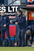 CHAMPIONS Luton Town manager Mick Harford celebrating just before the final whistle is blown in the EFL Sky Bet League 1 match between Luton Town and Oxford United at Kenilworth Road, Luton, England on 4 May 2019.