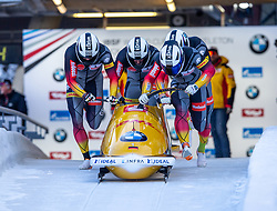 18.01.2020, Olympia Eiskanal, Innsbruck, AUT, BMW IBSF Weltcup Bob und Skeleton, Igls, Bob Viersitzer, Herren 1. Lauf, im Bild Pilot Friedrich Francesco mit Margis Thorsten, Schueller Alexander, Bauer Candy (GER) // Pilot Friedrich Francesco with Margis Thorsten Schueller Alexander Bauer Candy of Germany in action during their 1st run of four-man Bobsleigh competition of BMW IBSF World Cup at the Olympia Eiskanal in Innsbruck, Austria on 2020/01/18. EXPA Pictures © 2020, PhotoCredit: EXPA/ Peter Rinderer