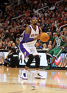 Jan. 28, 2011; Phoenix, AZ, USA; Phoenix Suns forward Hakim Warrick (21) puts up a shot against the Boston Celtics at the US Airways Center.  The Suns defeated the Celtics 88-71. Mandatory Credit: Jennifer Stewart-US PRESSWIRE