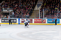 KELOWNA, CANADA - JANUARY 10: Kaedan Korczak #6 of the Kelowna Rockets celebrates his first WHL goal during the first period against the Spokane Chiefs on January 10, 2017 at Prospera Place in Kelowna, British Columbia, Canada.  (Photo by Marissa Baecker/Shoot the Breeze)  *** Local Caption ***