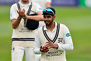 Ravi Patel of Middlesex walks off after the Somerset declaration with the ball after taking 5-92 and 12 wickets for the match during the Specsavers County Champ Div 1 match between Somerset County Cricket Club and Middlesex County Cricket Club at the Cooper Associates County Ground, Taunton, United Kingdom on 27 September 2017. Photo by Graham Hunt.