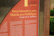 Information sign panel Cistercian Monastery of Saint Mary of Valldigna, Simat de la Valldigna, Valencia province, Spain