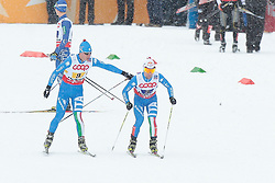 24.02.2013, Langlaufstadion, Lago di Tesero, ITA, FIS Weltmeisterschaften Ski Nordisch, Nordische Kombination, Langlauf Team, im Bild Italy at the change during the Mens Nordic Combined Team Race of the FIS Nordic Ski World Championships 2013 at the Cross Country Stadium, Lago di Tesero, Italy on 2013/02/24. EXPA Pictures ©  2013, PhotoCredit: EXPA/ Federico Modica