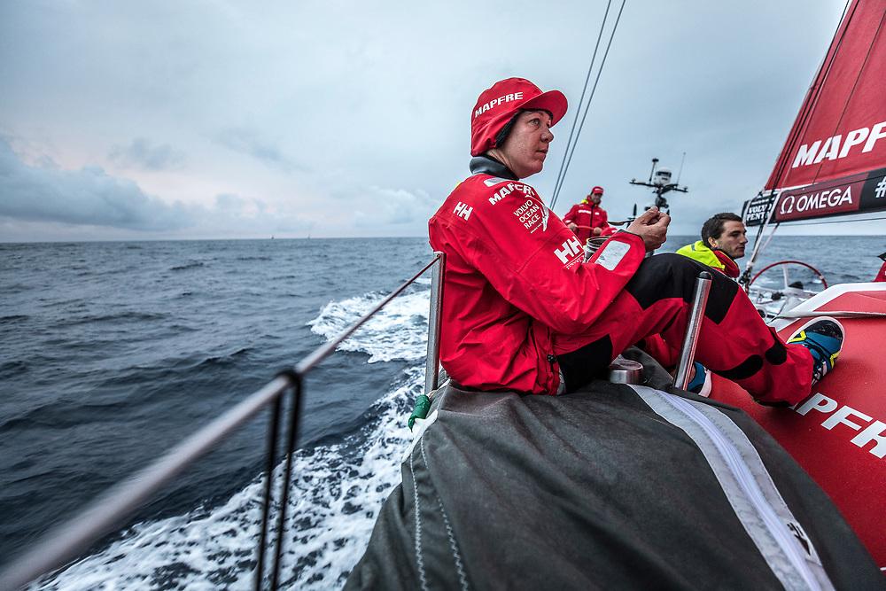 Leg 6 to Auckland, day 04 on board MAPFRE, Sophie Ciszek having dinner on deck. 10 February, 2018.