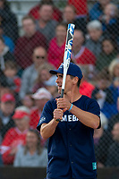 KELOWNA, CANADA - JUNE 28: Retired NHL player Wade Redden steps up to bat during the opening charity game of the Home Base Slo-Pitch Tournament fundraiser for the Kelowna General Hospital Foundation JoeAnna's House on June 28, 2019 at Elk's Stadium in Kelowna, British Columbia, Canada.  (Photo by Marissa Baecker/Shoot the Breeze)