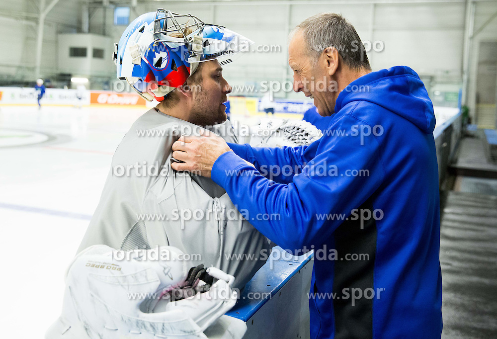 Robert Kristan of Slovenia and Drago Terlikar during practice session of Slovenian Ice Hockey National Team at Day 4 of 2015 IIHF World Championship, on May 4, 2015 in Practice arena Vitkovice, Ostrava, Czech Republic. Photo by Vid Ponikvar / Sportida