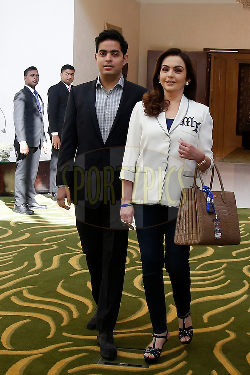 Nita Ambani  and Akash Ambani from Mumbai Indians during the Vivo IPL 2017 Player Auction held at the Carlton-Ritz hotel in Bangalore on the 20th February  2017<br /> <br /> Photo by Deepak Malik / IPL / SPORTZPICS