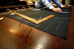 UK ENGLAND LONDON 15JAN09 - Cutting process  at The Huntsman tailors in Saville Row, central London. Established in 1849, the Huntsman has been located at the legentary Saville Row since 1919...jre/Photo by Jiri Rezac..© Jiri Rezac 2009