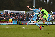 Forest Green Rovers Lee Collins(5) shoots at goal scores a goal 2-1 during the EFL Sky Bet League 2 match between Forest Green Rovers and Coventry City at the New Lawn, Forest Green, United Kingdom on 3 February 2018. Picture by Shane Healey.