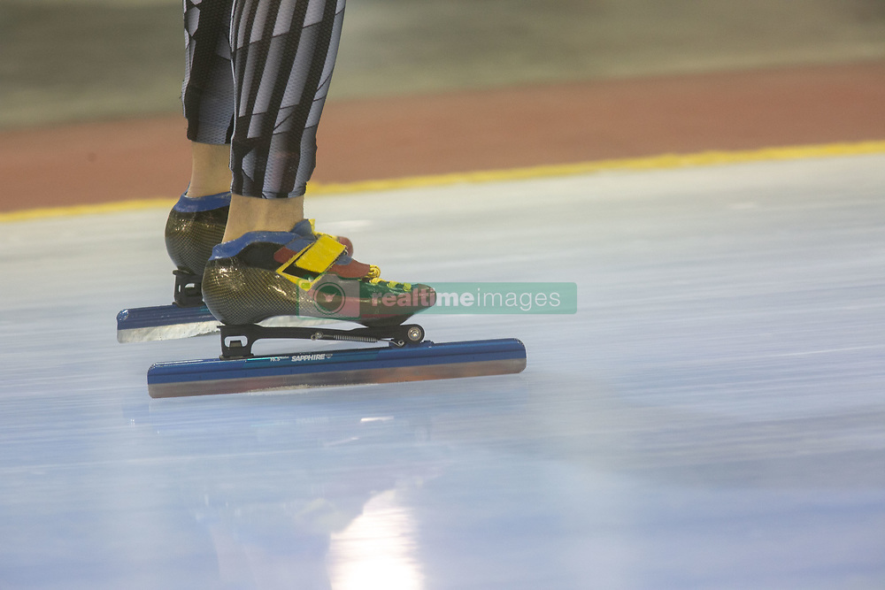 March 9, 2019 - Salt Lake City, Utah, USA - Athletes warm up before the 500m speed skating finals at the ISU World Cup at the Olympic Oval in Salt Lake City, Utah. (Credit Image: © Natalie Behring/ZUMA Wire)