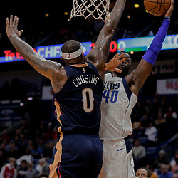 Dec 29, 2017; New Orleans, LA, USA; Dallas Mavericks forward Harrison Barnes (40) shoots over New Orleans Pelicans center DeMarcus Cousins (0) during the first quarter at the Smoothie King Center. Mandatory Credit: Derick E. Hingle-USA TODAY Sports