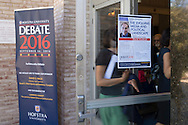 Hempstead, New York, USA. September 13, 2016. Students and community members enter John Cranford Adams Playhouse to attend event with David Axelrod - CNN Senior Political Commentator and Democratic strategist who served as Obama Senior Advisor - the Signature Debate Speaker on The Evolving Media and Political Landscape, at Hofstra University, which will host the first Presidential Debate, between H.R. Clinton and D. J. Trump, scheduled for later that month on September 26. Hofstra is first university ever selected for 3 consecutive U.S. presidential debates.