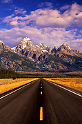 Image of Grand Teton Range and road in Grand Teton National Park, Wyoming, Pacific Northwest