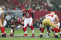 20 January 2013: Quarterback (2) Matt Ryan of the Atlanta Falcons lines up against the San Francisco 49ers during the first half of the 49ers 28-24 victory over the Falcons in the NFC Championship Game at the Georgia Dome in Atlanta, GA.