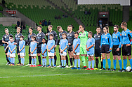 Melbourne City before kick off at the FFA Cup quarter-final soccer match between Melbourne City FC and Western Sydney Wanderers FC at AAMI Park in Melbourne.