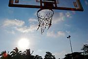 An old basketball basket.
