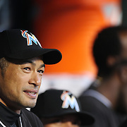 NEW YORK, NEW YORK - APRIL 12: Ichiro Suzuki, Miami Marlins, in the dugout during the Miami Marlins Vs New York Mets MLB regular season ball game at Citi Field on April 12, 2016 in New York City. (Photo by Tim Clayton/Corbis via Getty Images)