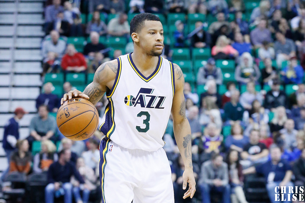 27 January 2016: Utah Jazz guard Trey Burke (3) brings the ball up court during the Utah Jazz 102-73 victory over the Charlotte Hornets, at the Vivint Smart Home Arena, Salt Lake City, Utah, USA.