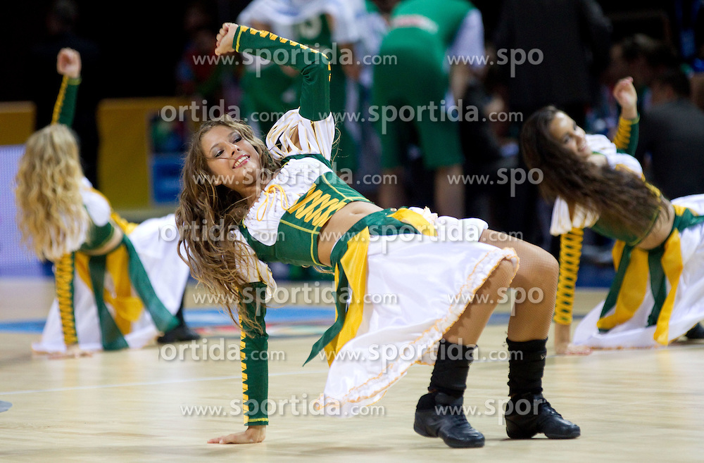 Cheerleaders Klaipeda University Dance Team (Zalgdance)  during basketball match between National teams of Ukraine and Slovenia in Group D of Preliminary Round of Eurobasket Lithuania 2011, on September 1, 2011, in Arena Svyturio, Klaipeda, Lithuania. Slovenia defeated Ukraine 68 - 64. (Photo by Vid Ponikvar / Sportida)