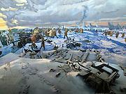 """Moskau/Russische Foederation, RUS, 10.05.2008: Ein drei dimensionales Diorama welches die Schlacht von Stalingrad waehrend des 2. Weltkriegs darstellt. Das ganze im Museum des Grossen Vaterlaendischen Krieges in Moskau. Das Museum befindet sich auf dem Berg """"Poklonnaja Gora"""". Verbunden damit ist der sogenannte Siegespark mit einer offenen Darstellung von militaerischen Fahrzeugen, Flugzeugen und Kanonen.<br /> <br /> Moscow/Russian Federation, RUS, 10.05.2008: A three-dimensional model (diorama) about the Stalingrad battle during the Second World War at the Museum of the Great Patriotic War in Moscow at Poklonnaya Gora (Bowing Hill). Featured is the Victory Park with an open display of military vehicles, aircraft, cannons and the Central Museum building of the Great Patriotic War."""