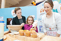 Armed with their brand new no mess flour tubs, The Odlums Roadshow came to Galway Shopping Centre on Saturday. Shoppers queued up to watch icing demo's, win Odlums goodies and taste the delicious Odlums cakes. The Great Irish Bakeoff sponsored by Odlums had contributed to a renewed interest in baking nationwide' . At the event was From Mountbellew Aoife Fallon and cousin Jasmin Fallon from the Caymen Islands and Doireann Gately  Odlums. <br />   Photo:Andrew Downes.