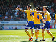 Goalscorer Marcello Trotta of Brentford celebrates during the Sky Bet League 1 match at the Matchroom Stadium, London<br /> Picture by Mark D Fuller/Focus Images Ltd +44 7774 216216<br /> 15/03/2014