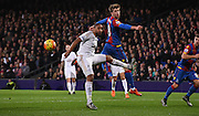 Another Palace attack goes begging as Patrick Bamford misses the header during the Barclays Premier League match between Crystal Palace and Swansea City at Selhurst Park, London, England on 28 December 2015. Photo by Michael Hulf.