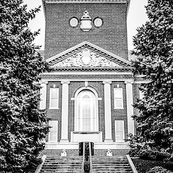 University of Cincinnati vertical panoramic picture with McMicken Hall in black and white. Panoramic picture ratio is 1:3. McMicken Hall is part of the McMicken College of Arts and Sciences which is named after Charles McMicken.