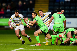 Julien Blanc of Pau passes the ball out of the ruck - Mandatory by-line: Ryan Hiscott/JMP - 15/12/2018 - RUGBY - Sixways Stadium - Worcester, England - Worcester Warriors v Pau - European Rugby Challenge Cup