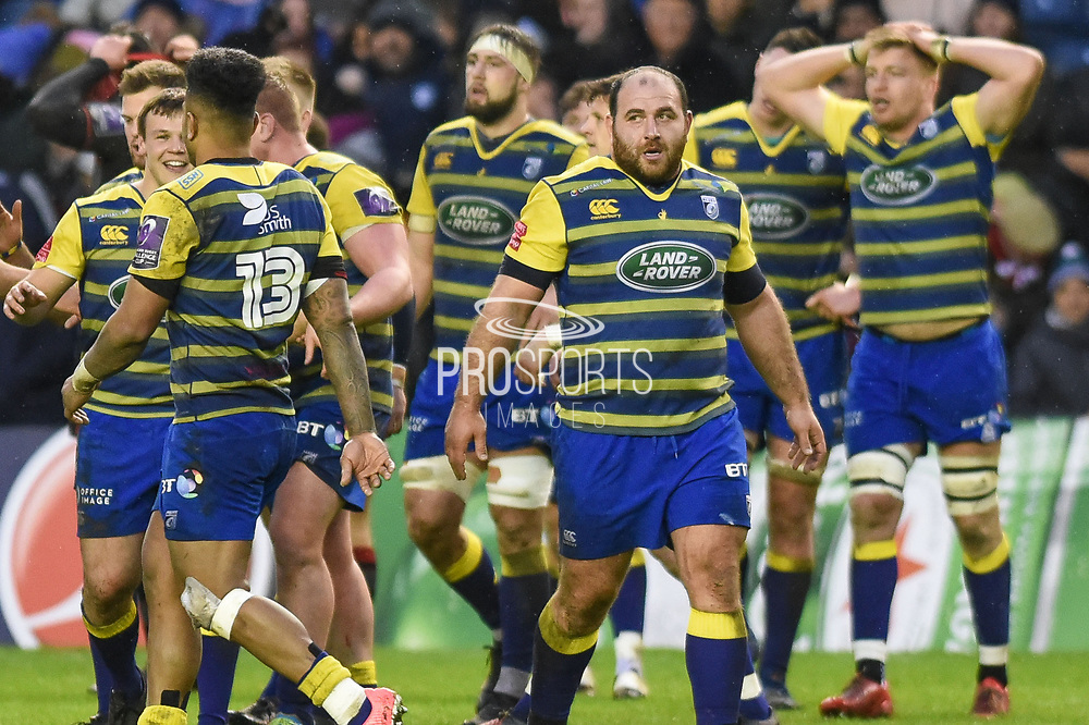 Cardiff players celebrate winning the European Rugby Challenge Cup match between Edinburgh Rugby and Cardiff Blues at BT Murrayfield Stadium, Edinburgh, Scotland on 31 March 2018. Picture by Kevin Murray.
