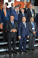 20.10.2018. Copenhagen, Denmark.  <br /> President of Ethiopia HE Mulatu Teshome(L), Prime Minister of the Socialist Republic of Vietnam HE Nguyen Xuan Phúc (C), Minister of Foreign Affairs, Bangladesh HE Abul Hassan Mahmood Ali (R) pose for a family picture during the P4G Copenhagen Summit 2018 at The Danish Radio Concert Hall.<br /> Photo: © Ricardo Ramirez