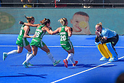 Grace O'Flanagan goalkeeper of Ireland (1) celebrates with team mates Gillian Pinder of Ireland (15)  Anna O'Flanagan of Ireland (26) and Chloe Watkins of Ireland (20) after the shoot out during the Vitality Hockey Women's World Cup 2018 Semi-Final match between Ireland and Spain at the Lee Valley Hockey and Tennis Centre, QE Olympic Park, United Kingdom on 4 August 2018. Picture by Martin Cole.