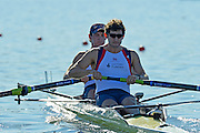 Varese,  ITALY. 2012 FISA European Championships, Lake Varese Regatta Course. ..GBR M2-, Bow. Kieren EMERY and Matthew TARRANT  at the start of their heat of the Men's Pair. ..09:54:08  Friday  14/09/2012 .....[Mandatory Credit Peter Spurrier:  Intersport Images]  ..2012 European Rowing Championships Rowing, European,  2012 010680.jpg.....
